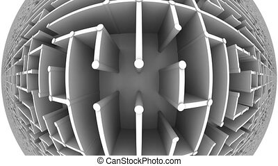 Flight over a big maze, fisheye view. Loopable animation