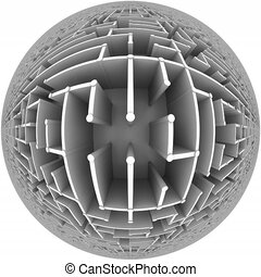 Flight over a maze globe - Endless flight over a maze