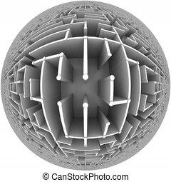 Flight over a maze globe