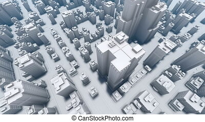 Flight over abstract white 3D city Aerial 4K
