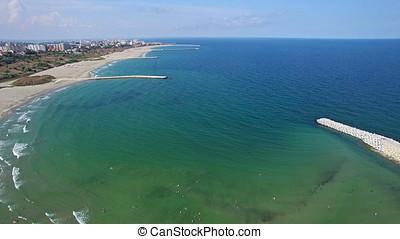 Flight over beach at Black Sea