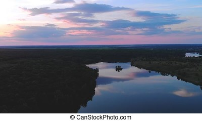 Flight over beautiful island on river Ros and sunset,...