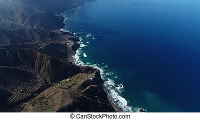 Flight over beautiful mountains near ocean shore - Aerial...