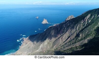 Flight over beautiful mountains near ocean shore - Aerial...