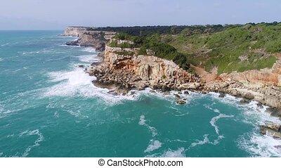Flight over beautiful seashore at Mallorca - Flight over ...