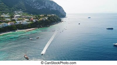 flight over Capri harbor in southern Italy