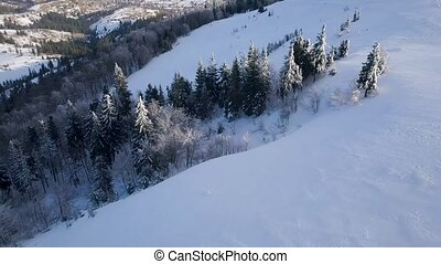 Flight over Carpathian mountains covered with snow. Clear...