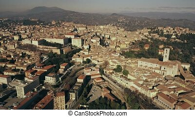 Flight over city of Perugia, Italy - Aerial view of Perugia....