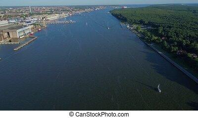 flight over city port - flight over big city port
