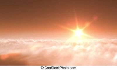 flight over clouds, sunset