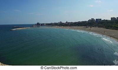 Flight over Constanta beach at Black Sea, Romania