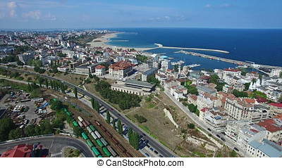 Flight over Constanta city and coastline, Romania