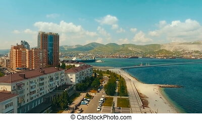 beautiful view of the sea port of Novorossiysk