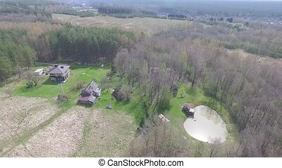 Flight Over Farmstead 1 - Aerial HD High Quality footage...