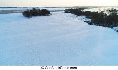 flight over filds in winter