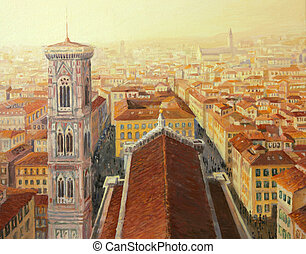 Flight Over Florence - An oil painting on canvas of an...
