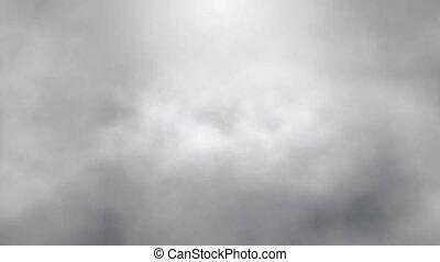 flight over fog smoke clouds