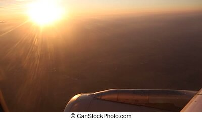 Flight over Germany in sunset