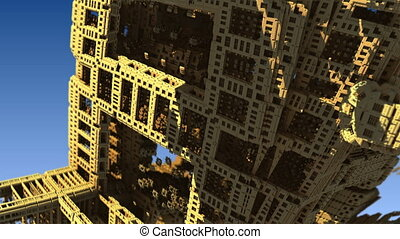 flight over gold structures