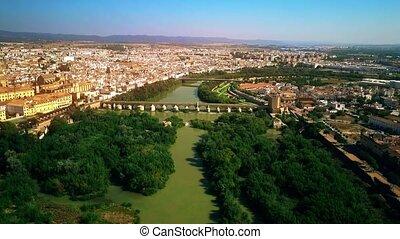 Flight over Guadalquivir river in Cordoba