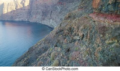 flight over Los gigantes mountains at tenerife