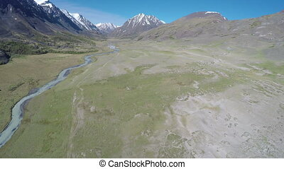 flight over mountain river in Altay, Russia