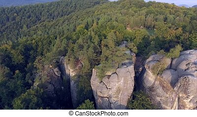 Flight over Mountains Peaks, Sunset, Flight above forest an mountains, Dovbush aerial, fly over rocks,