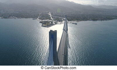 flight over of the Charilaos Trikoupis bridge Rio-Antirio in...