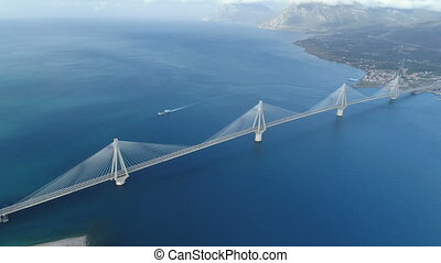 flight over of the Charilaos Trikoupis bridge Rio-Antirio in...
