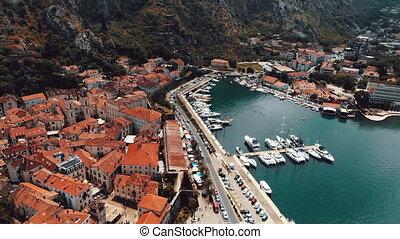 flight over old town of Kotor in Montenegro