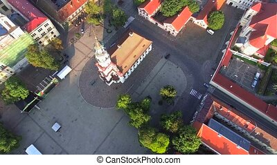flight over old town