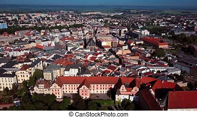 Flight over Olomouc old town, Czech Republic.