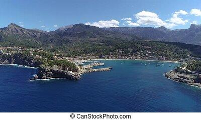 flight over Porte de Soller, Palma Mallorca, Spain -...