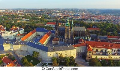 flight over Prague Castle, President Residence, old red ...