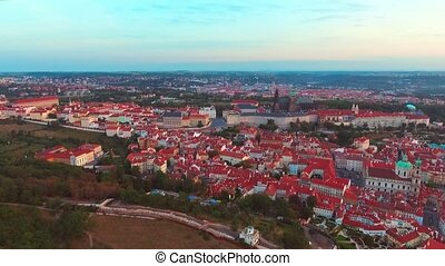 flight over Prague Castle, President Residence, the city ...