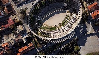 Flight over Pula Arena, Croatia.