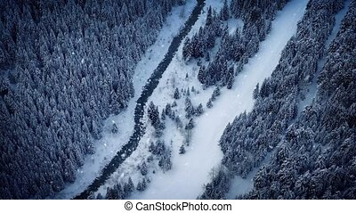 Flight Over River In Snowfall