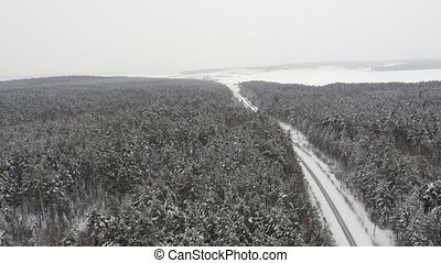 Flight over Road in Winter Forrest