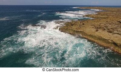 Flight Over Rocky North Shore Pacific Ocean Jetty - Rocks...