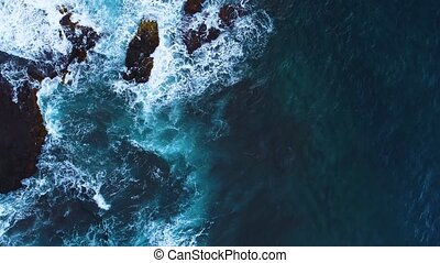 Flight over seashore at Tenerife island