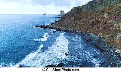 Flight over seashore at Tenerife