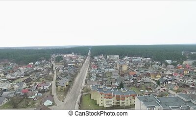 Flight Over Small Town Near Forest 6