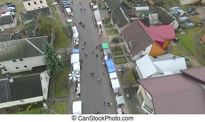 Flight Over Small Town Near River, Fair On Street 2