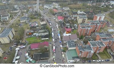 Flight Over Small Town Near River, Fair On Street 1