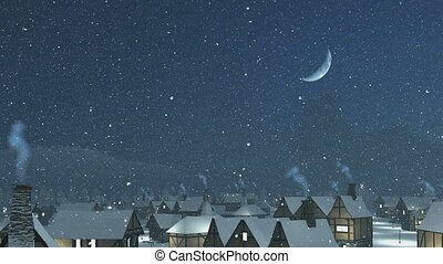 Flight over snowy roofs at night