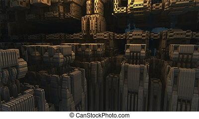 flight over stone complex structure