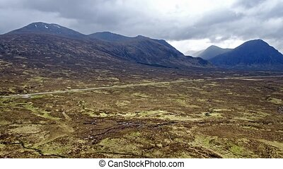 Flight over the amazing landscape of Rannoch Moor towards...