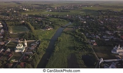 Flight over the ancient city of Suzdal. Vladimir oblast, Russia