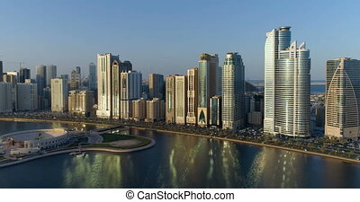 Flight over the city from a height of 150 meters. Sharjah.