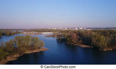 Flight over the Dnieper River